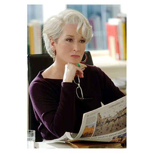 The Devil Wears Prada 8x10 Photo Meryl Streep Seated at Desk Reading Newspaper Holding Glasses in Right Hand - Wear Glasses Celebrities