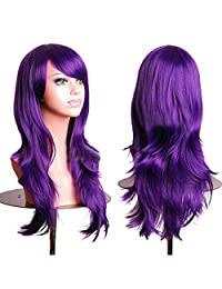 "RoyalStyle 28""70cm Long Wavy Universal Cosplay Wigs Party Hair for Woman (Purple)"