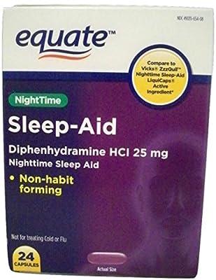 Equate Nighttime Sleep Aid Diphenhydramine HCI 25mg 24 ct Capsules.