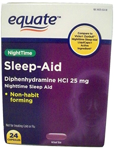 Equate Nighttime Sleep Aid Diphenhydramine HCI 25mg 24 ct Ca