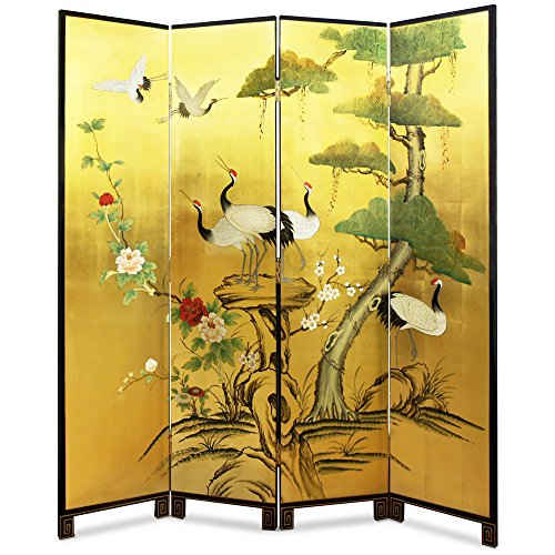 ChinaFurnitureOnline Lacquer Floor Screen, Hand Painted Cranes and Pine Motif on Gold Leaf Screen with Bamboo Back in Gold and Black