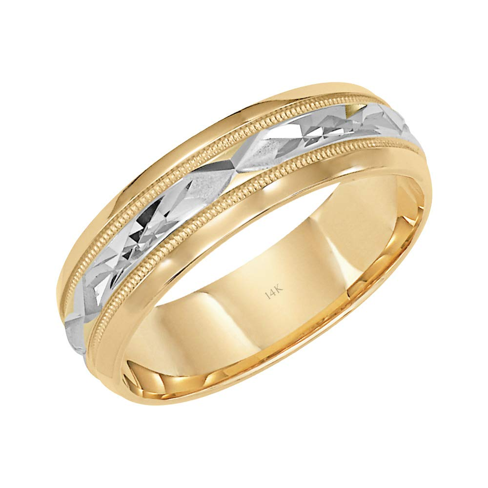 Brilliant Expressions 14K Yellow Gold Comfort Fit Wedding Band with White Gold Diamond Cut Details, 6mm, Size 10.5