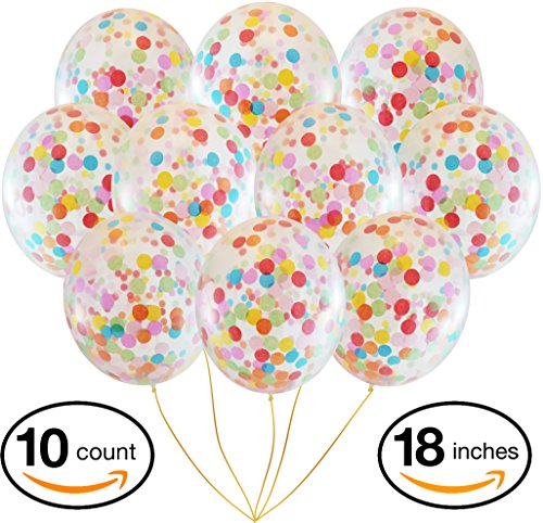 Large Multicolor Rainbow Confetti Balloons   10 Pack 18