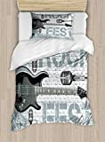 Ambesonne Rock Music Duvet Cover Set Twin Size, Grunge Color Splashed Brick Wall Background Electronic Guitar Mics Design, Decorative 2 Piece Bedding Set with 1 Pillow Sham, Blue Grey Black