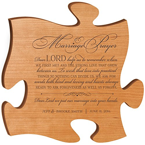 Personalized Wedding Gifts for Bride and Groom Marriage Prayer Made in USA Wall Art Exclusively from LifeSong Milestones (Cherry)