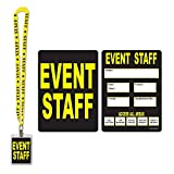 Pack of 12 Black and Yellow Event Staff Party Pass Lanyard and Card Holder 25''