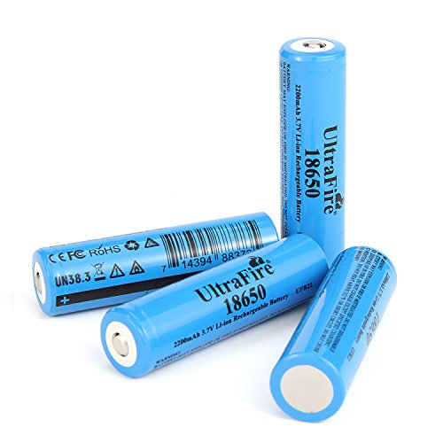 UltraFire 18650 Rechargeable Battery 3.7V Li-ion 2200mAh MAX Battery Button Top Battery(4 PACK)
