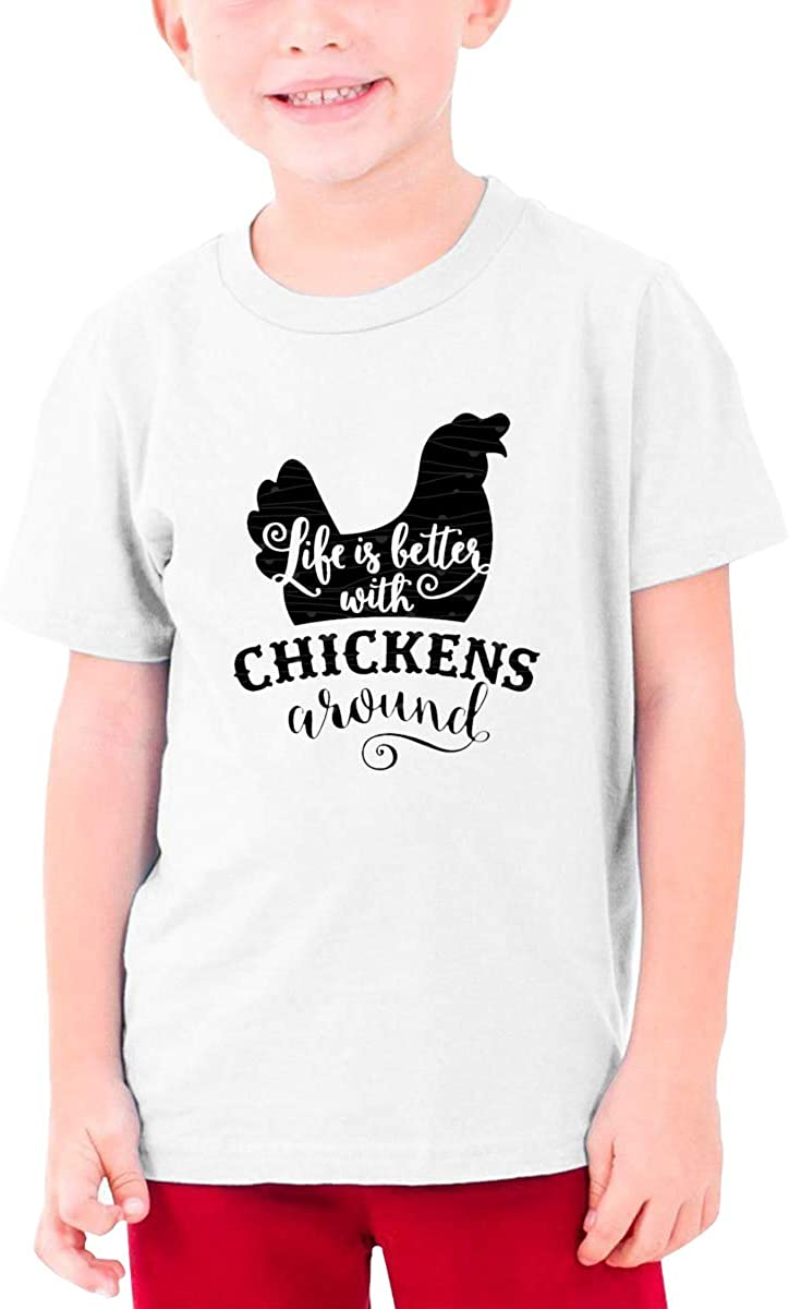 EROTEN Life is Better with Chickens Logo Cotton Youth T Shirts Short Sleeve for Teenager Boys Girls
