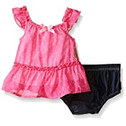 Juicy Couture Baby Girls' Printed Chiffon Top with Denim Ruffle Panty, Fuchsia, 0-3 Months