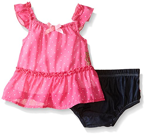 (Juicy Couture Baby Girls' Printed Chiffon Top with Denim Ruffle Panty, Fuchsia, 12 Months)