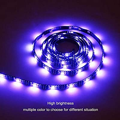 Battery Powered Led Strip Lights Flexible Waterproof LED Light Strip with Remote,RGB SMD 5050 LED Ribbon Light LED Strip Rope Lights Multi Color Changing-2M/6.56ft Black