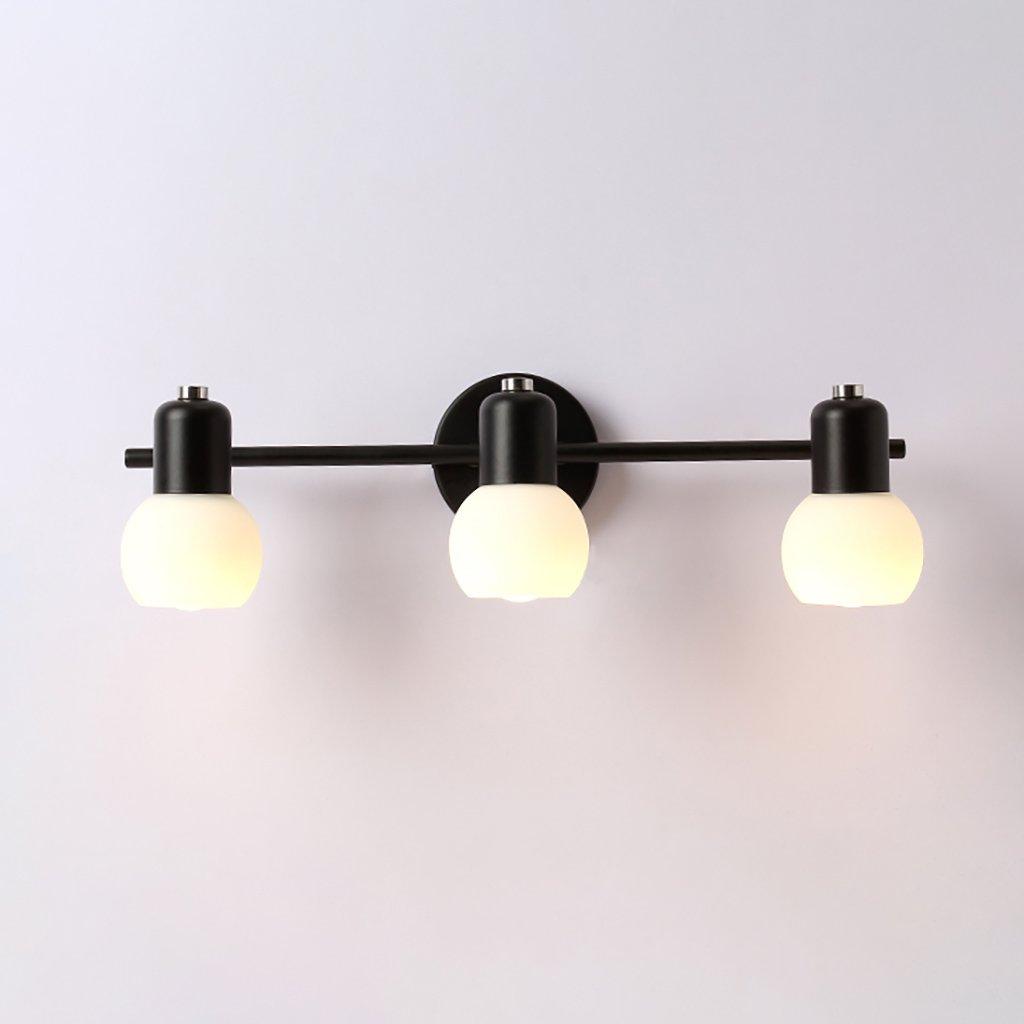 DLewiee 鍛鉄壁ランプガラスランプシェードミラーヘッドライトled暖かい光のバスルームのドレッシングランプミラーキャビネット照明 B07BMH55CF 10407 三黄色の光 三黄色の光