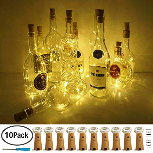 LoveNite Wine Bottle Lights with Cork, Warm White 10 Pack Battery Operated LED Cork Shape Silver Copper Wire Colorful Fairy Mini String Lights for DIY, Party, Decor, Christmas, Halloween,Wedding
