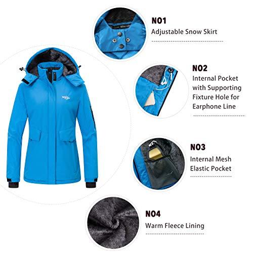 Wantdo Women's Winter Coat Snow Jacket Waterproof Windproof Ski Fleece Raincoat