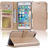 Iphone 6s Plus Case, iphone 6 plus case, Arae [Wrist Strap] Flip Folio [Kickstand Feature] PU leather wallet case with ID&Credit Card Pockets For Apple Iphone 6 plus/6S Plus 5.5 (champaign gold)