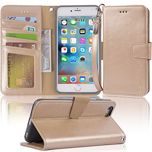 Arae wallet case for iPhone 6s Plus / iPhone 6 plus [Kickstand Feature] PU leather with ID&Credit Card Pockets For Iphone 6 Plus / 6S Plus 5.5 (not for 6/6s) (Champaign Gold)