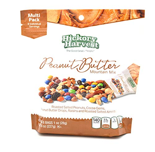 Healthy Trail Nut Mix Snack Packs, 1 Pack of 8 Bags (1 oz) | Roasted Peanuts, Chocolate, Raisins, Almonds | Peanut Butter Mountain