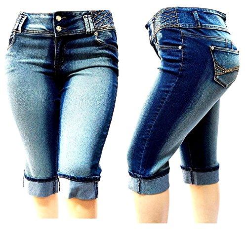 D&B Womens Plus Size Blue Denim Jeans Capri Pants Stretch HI Waist