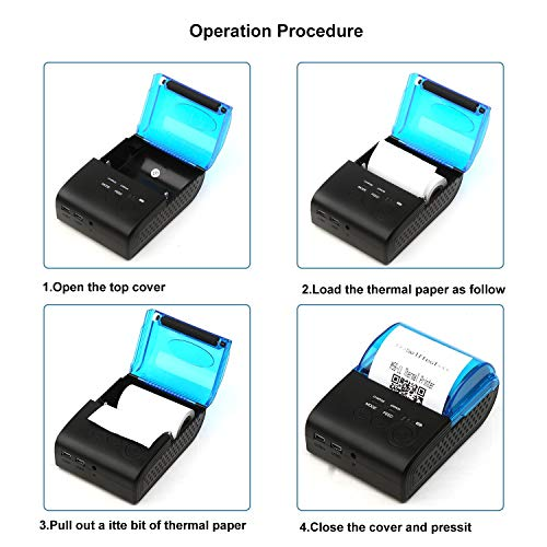 MUNBYN Bluetooth 4.0 Large Paper Warehouse Receipt Thermal Printer Portable 58mm Personal Bill Printer Wireless POS Compatible with iOS Android Windows,Do not Support Square by MUNBYN (Image #9)