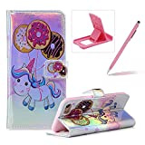 Wallet Leather Case for iPhone 8,Laser Flip Leather Cover for iPhone 7,Herzzer Stylish Pony Donuts Printed Magnetic PU Leather Foldable Stand Card Holders Smart Telephone Case with Soft Inner
