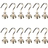LGDehome Multi-Function D16 16mm Super Strongest Heavy Duty Neodymium Magnets Hanging Hooks Powerful Kitchen Magnetic Hanging Hooks for Indoor/Outdoor Bathroom Fridge Silver (Pack of 12)