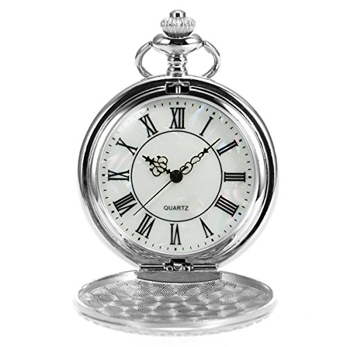Pearl Quartz Watch - SIBOSUN Antique Imitation Mother Of Pearl Pocket Watch Chain Silver Japanese Quartz Movement