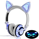 Headphone Cat Ear Headset,LED Light with USB Chargeable Foldable Earphones for Kids Teens Adults, Compatible for Ipad,Tablet,Computer,Mobile Phone LX-R107 (white)