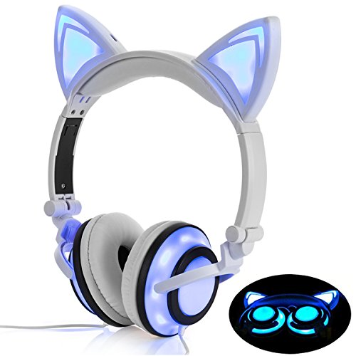 Headphone Cat Ear Headset Led Light With Usb Chargeable Foldable Earphones For Kids Teens Adults  Compatible For Ipad Tablet Computer Mobile Phone Lx R107  White