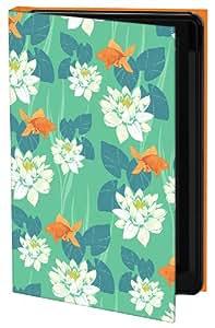 Keka Classic - Funda rígida tipo libro para iPhone 5 (diseño de peces y flores en estanque de Kayleigh Walls, fijación a presión)