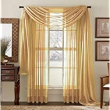 """Elegant Comfort 2-Piece Sheer Panel with 2"""" Rod Pocket, Window Curtains 60"""" Width X 84"""" Length, Gold"""