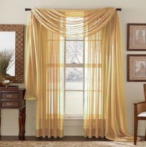 Elegant Comfort 2-Piece SHEER PANEL with 2inch ROD POCKET - Window Curtains 60-inch width X 84-inch Length - Gold