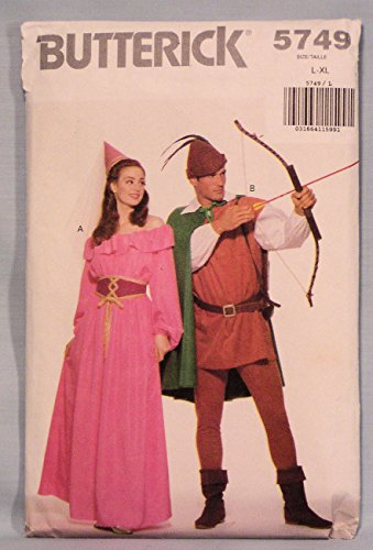 Butterick 5749 Maid Marian, Robin Hood Costumes Sewing Pattern, Vintage 1985 (Hood Robin Hat Pattern)