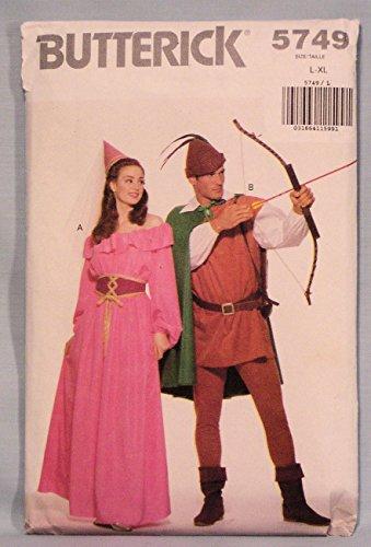 Butterick 5749 Maid Marian, Robin Hood Costumes Sewing Pattern, Vintage 1985 (Hood Hat Pattern Robin)