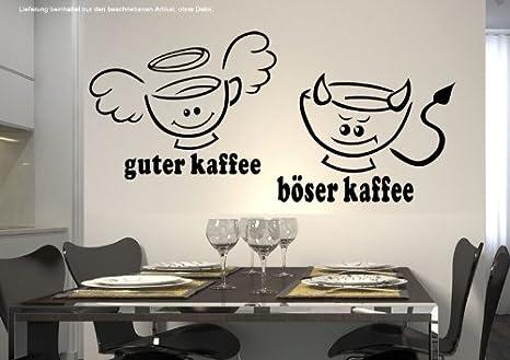 WandTattoo KÜCHE CAFE COFFEE guter Kaffee böserKaffee 30 Farben 7 Größen  zur Wahl wkf34(090 silber, Größe 1:ca.18 x10cm)