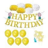 BESTOYARD Happy Birthday Party Balloons Banner Paper Pom Poms Dream Catcher Gold Glitter Cake Topper Birthday Decoration Set for Party (Gold)