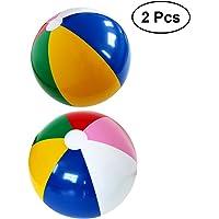 YeahiBaby Balles de Plage d'arc-en-Ciel Gonflable Boules Mignonnes pour Les Parties de Piscine de Plage 2pcs