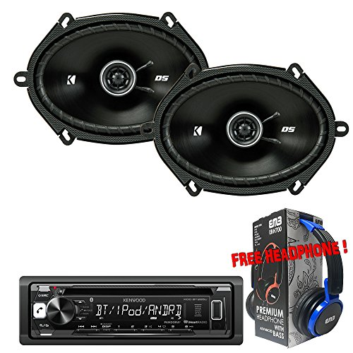 "Package Kenwood KDC-BT265U Bluetooth CD/AM/FM Car Stereo Receiver + (1) Pair Kicker 43DSC6804 6"" x 8"" 2-way Speakers + 1 EMB Headphone"
