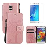 for Samsung Galaxy S5 / S5 Neo Wallet Case Holster with Screen Protector ,OYIME [Rose Gold Cute Cat and Butterfly Tree] Design Leather Kickstand Magnetic Card Holder Full Body Protective Flip Cover