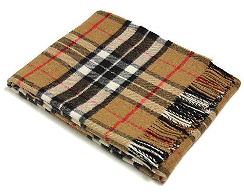 Bronte Throw Blanket - Tartan Throw - Merino Lambswool (Camel Thompson)