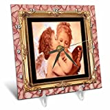 3dRose dc_21234_1 Angels Kissing Desk Clock, 6 by 6-Inch