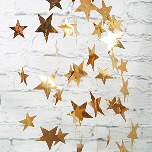 2 Pack Sparkling Gold Star Garland for Christmas Party Decorations Baby Shower (4 inch in Diameter,13 Feet) (Glitter Gold) ()