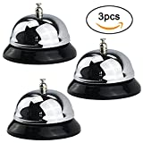TinaWood 3PCS 3.38'' Diameter Big Desk Service Call Bell/Customer Service Bell for Hotels, Schools, Restaurants, Reception Areas, Hospitals, Chrome Finish, All-Metal Construction (Silver x3)