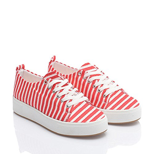 Just Shoes Women's Sneaker Multi Color Fashion Comfort Footwear, Canvas Printed walking shoes fashion Design, Low Top 10 Colors Available X-youth JF-SNK01 (8-US/39-EU/6-UK, Red)