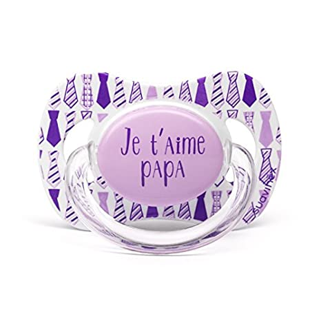 Suavinex Chupete diseño Je T Aime Papa corbata lila 0/6 ...
