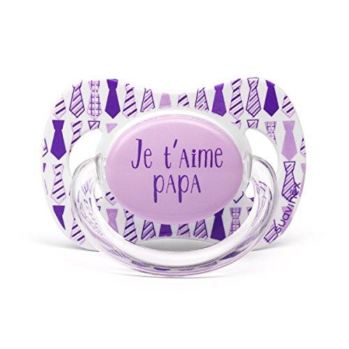 Suavinex Chupete diseño Je T Aime Papa corbata lila 0/6 Meses ...