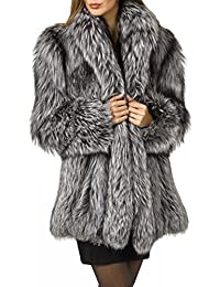 f25db310fb Womens Faux Fur Coat Parka Jacket Long Trench Winter Warm Thick Outerwear  Overcoat Plus Size XS
