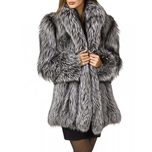 Rvxigzvi Womens Faux Fur Coat Parka Jacket Long Trench Winter Warm Tops Outerwear Overcoat Plus Size M-4XL (Silver Grey, L)