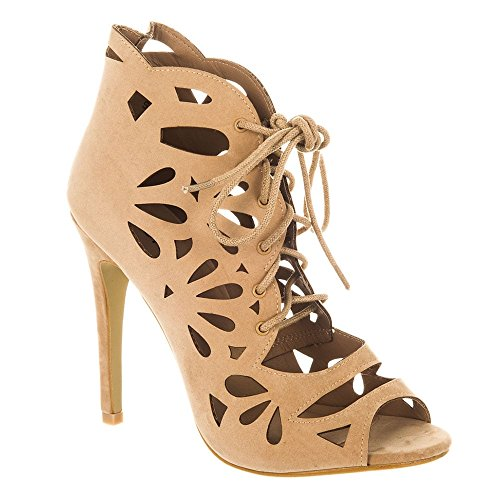 Peep Femme Suedette toe Nude Miss Diva Shoes wAqvvg