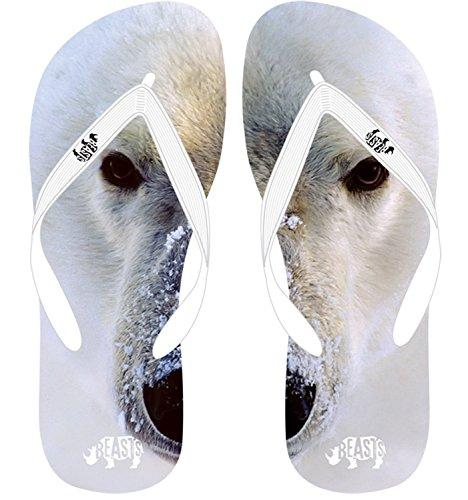 Beasts Polar Bär Flip Flops–XS, S, M, L, XL–Weiß