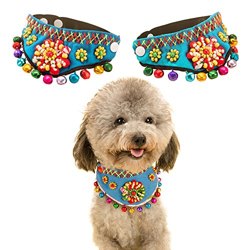 Art Stone Holiday Costumes (QBLEEV Cat Pet Puppy Bead Elastic Collar Triangle Scarf Folk Style With Colorful Bells (blue))
